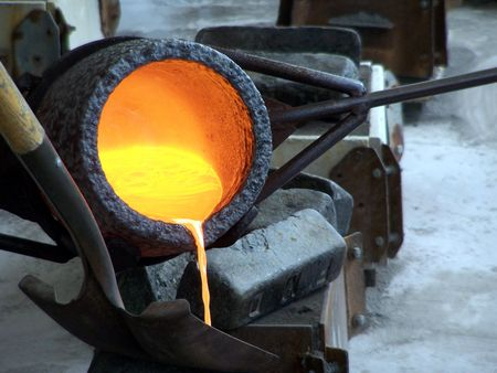 foundry: pouring Stock Photo