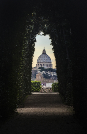 st  peter: Rome, Lazio, Italy. The Papal Basilica of St. Peter in the Vatican seen from the keyhole of a door.