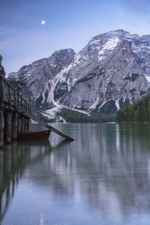 Braies  Prags, Dolomites, South Tyrol, Italy. The Lake Braies with half-moon  Pragser Wildsee