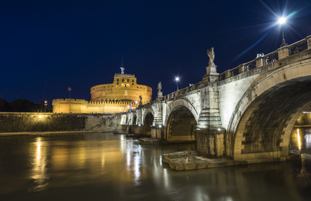 lazio: Rome, Lazio, Italy. Castle St. Angelo at night Editorial