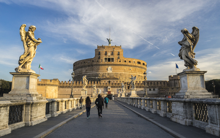 angelo: St. Angelo Bridge, Rome, Lazio. The Mausoleum of Hadrian or Castel Sant Angelo at dawn, Italy Editorial