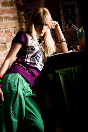 caffee: blond woman in caffee, selective focus