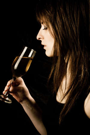 whine: woman drink whine,studio shoot Stock Photo