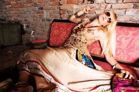 caffee: blond woman siting in caffee Stock Photo