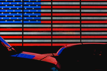 time's: American Flag in Times Square Stock Photo