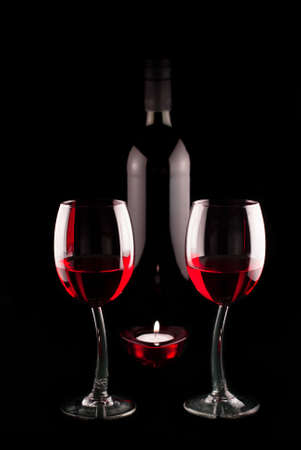 Red Wine With Two Glasses And A Bottle photo