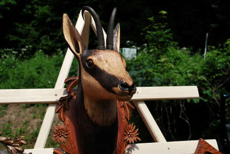 woodcarving: Woodcarving - chamois Stock Photo