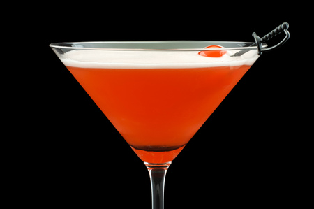Mary Pickford cocktail, consisting of rum, maraschino liqueur, pineapple juice and grenadine, garnished with a maraschino cherry Stock Photo