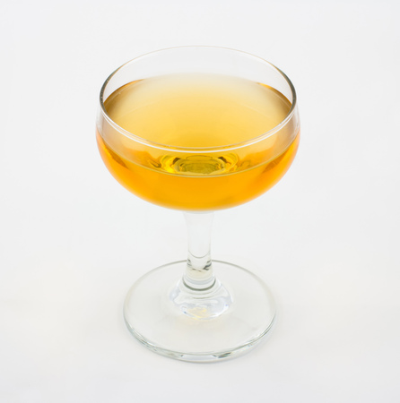 sweet vermouth: Corpse Reviver cocktail, consisting of brandy, calvados and sweet vermouth Stock Photo