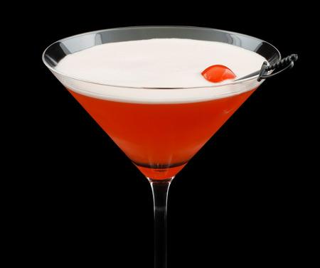 maraschino: Mary Pickford cocktail, consisting of rum, maraschino liqueur, pineapple juice and grenadine, garnished with a maraschino cherry Stock Photo