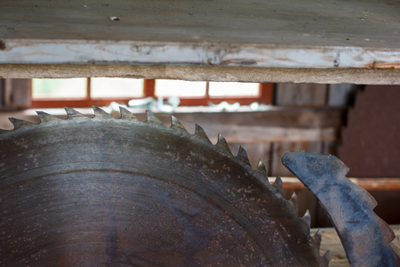 Close-up of a rusty circular saw in an old sawmill photo