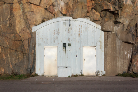 Entrance to an air-raid shelter in Sweden photo