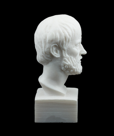 theorist: Greek philosopher Aristotle sculpture isolated on black