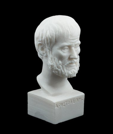Greek philosopher Aristotle sculpture isolated on black