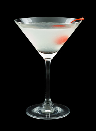 maraschino: Aviation is a cocktail that contains gin, maraschino liqueur, fresh lemon juice and is garnished with a maraschino cherry Stock Photo