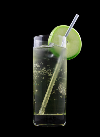 american dream: American Dream Drink, consisting of bourbon, apple schnapps and lemon-lime soda. Isolated on black background