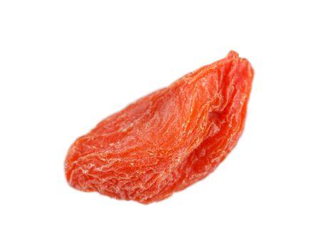 lycium: Closeup of on dried goji berry Lycium barbarum isolated on white Stock Photo