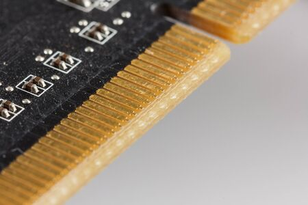 Close-up of a video card for a computer with a PCI-Express connection