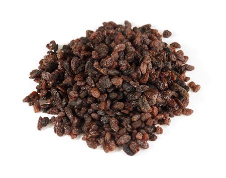 Pile of raisins isolated on white background Standard-Bild