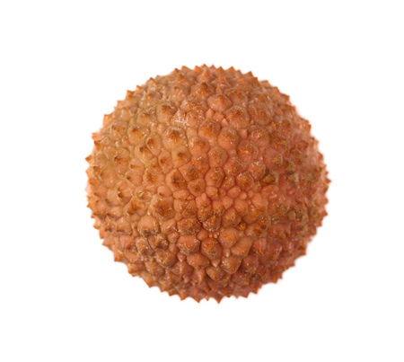 Top view of one lychee fruit Litchi chinensis, also known as litchi, liechee or lichee, isolated on a white background