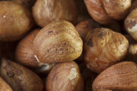 Close-up of a bunch of hazelnuts from above