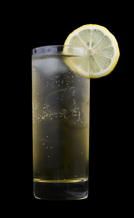 Geting Drink, consisting of vodka, banana liqueur and ginger ale. Isolated on black background