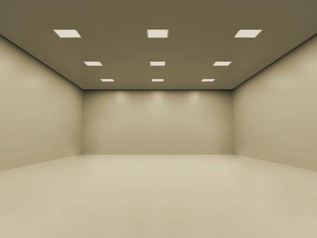 Stanza vuota bianca calda con illuminazione omogenea regolare del soffitto. Potete disporre i vostri oggetti all'interno Archivio Fotografico