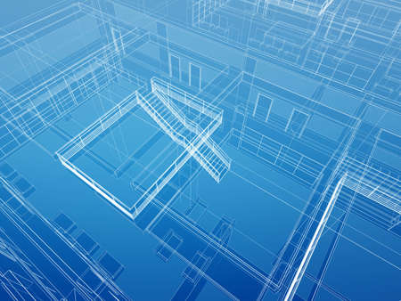 architectural interior: Wired transparent cad 3d geometry of architectural interior with straight stairs