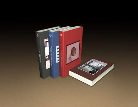 books on a wooden surface: A row of 3 modern books plus one lying, on wooden surface - fictional titles and logos of my autorship - all used photos and graphics of my autorship - computer generated