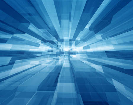 inside technology: Concentrical transparent blue cubes structural three dimensional dynamic background