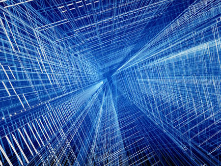 three dimensional background: Blue structural wired abstract spatial three dimensional background  Stock Photo