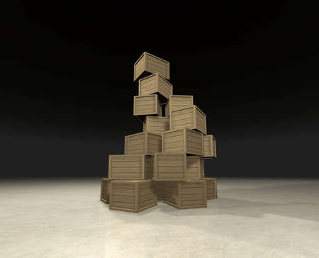 Pyramid of wooden boxes randomly placed on each other - computer generated image  photo