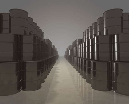 Long stacks of petroleum barrels - digitally generated Stock Photo - 5392310