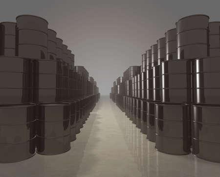 Long stacks of petroleum barrels - digitally generated photo