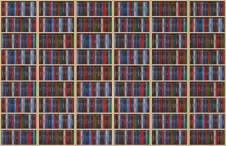 bookshelf digital: An infinite texture representing a bookshelf filled with books - all the titles and logos of my autorship - digital artwork  Stock Photo