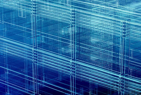 Dense orthogonal spatial wire structure - digitally generated background Stock Photo - 5457809