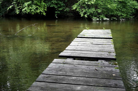 Jetty in a small river in Southern Bavaria Reklamní fotografie