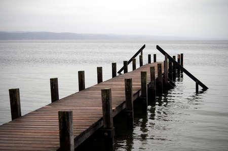 Boat bridge after winter rain