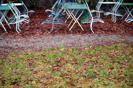 Tables in a beer garden in case.