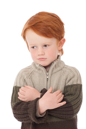 ginger haired: Ginger red hair haired boy smiling isolated on white