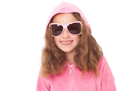 Young girl in pink top and sunglasses with funny face expression Stock Photo - 9478147