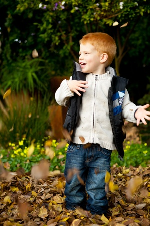 ginger plant: Happy red haired young boy is playing and throwing  the autumn leaves in a colorful park or garden