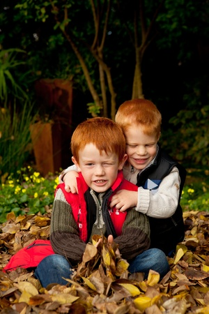 Two happy and smiling brothers or sons are sitting and hugging in a pile of colorful yellow and brown autumn / fall leaves in a garden or park setting Stock Photo - 9516373