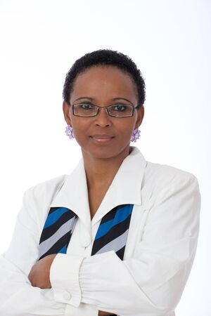 clever: Portrait of intellegent African American business woman wearing white shirt, scarf and glasses Stock Photo