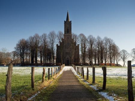 Elisabeth church in Bedburg-Hau Louisendorf on a sunny winter day landscape format