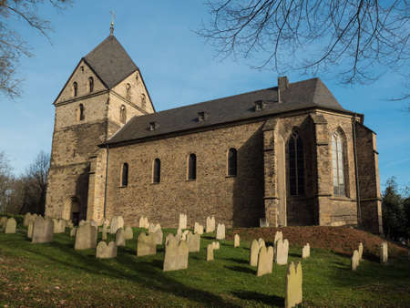 sight seeing: Evangelical church St. Peter, Hohensyburg, Dortmund, Germany and graveyard