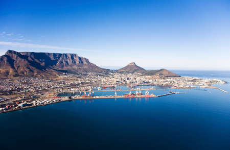 Aerial view of Cape Town Harbour, V&A Waterfront, Table Mountain, Lion's Head and Signal Hill, South Africa