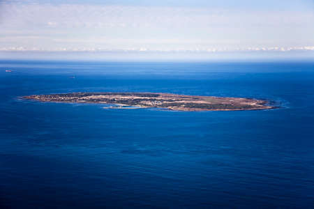 Aerial view of Robben Island in Cape Town, where former South African president, Nelson Mandela was held as a political prisoner for 27 years. Stock Photo