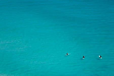 Aerial view of surfers, Noordhoek Beach, Cape Town Stock Photo