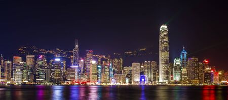 Symphony light and sound of city life at Victoria Harbor in HONG KONG